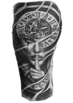 Dúvidas Girl Face Tattoo, Girl Arm Tattoos, Leg Tattoo Men, Tattoos For Guys, Hand Tattoos, Forarm Tattoos, Time Tattoos, Angel Sleeve Tattoo, Full Sleeve Tattoos