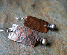 www.BalsamrootRanch.com  Handcrafted Rustic Elegance  Hammered Rustic Copper & Pearl Stick  Earrings by BalsamrootRanch, $41.00