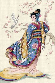 Gold Collection Elegance Of The Orient Counted Cross Stitch Kit Cross Stitch Charts, Counted Cross Stitch Patterns, Cross Stitch Designs, Cross Stitch Embroidery, Japanese Quilt Patterns, Japanese Quilts, Dimensions Cross Stitch, Art Du Monde, Cross Stitch Pattern Maker