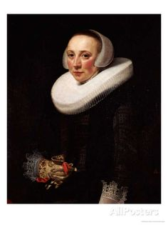 Portrait of a Lady, Standing Three-Quarter Length, in a Black Embroidered Dress by Nicolaes Eliasz. Pickenoy.  Another gorgeous glove.