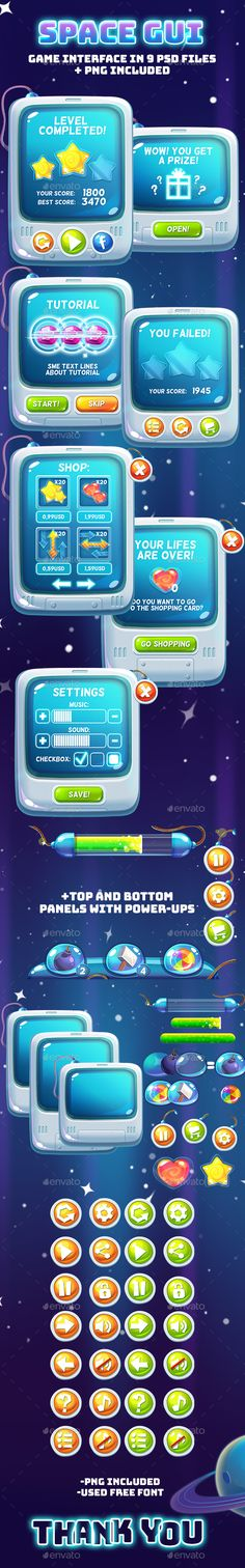 Space Cartoon GUI - User Interfaces Game Assets | Download : https://graphicriver.net/item/space-cartoon-gui/18815425?ref=sinzo