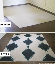 Katie of Upcylced Treasures took an inexpensive remnant rug from The Home Depot and painted it to look like an expensive designer rug. The results are amazing. Click through to see her painted rug tutorial. || @katienathey