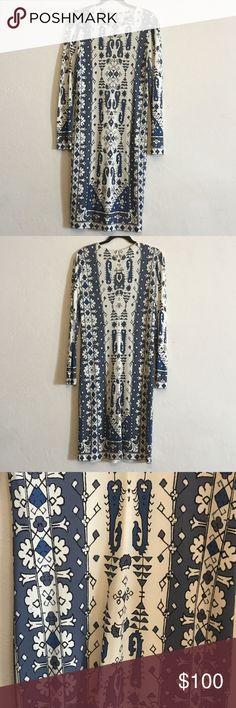 Tory Burch Blue and Cream Dress Tory Burch Blue and Cream Dress Tory Burch Dresses Long Sleeve