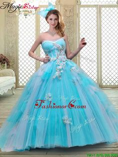 Luxurious Sweetheart Brush Train Quinceanera Dresses in Baby Blue YCQD066FOR