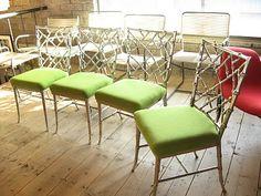 Bamboo chairs metalic finish