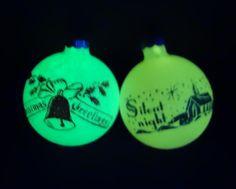 RARE Vintage Shiny Brite Glow in the Dark Stenciled Scene Glass Christmas Ornaments