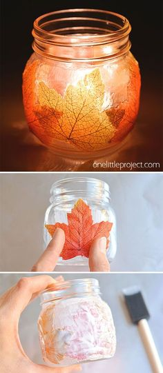 These mason jar leaf lanterns are such a PRETTY fall craft idea! Theyd look so beautiful on the Thanksgiving table! You could even use them for Halloween decorations. Theyre really easy to make and look awesome with a tea light inside! Mason Jar Candle Holders, Mason Jar Lanterns, Mason Jar Lighting, Candle Jars, Fall Mason Jars, Mason Jar Diy, Diy Mason Jar Lights, Halloween Mason Jars, Mason Jar Projects