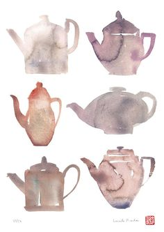 Tea illustration - Watercolor print - Terracotta chinese teapots - Food art poster - Art for kitchen