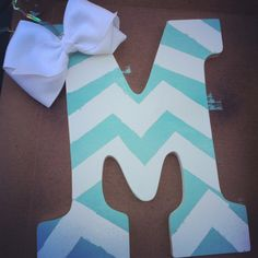 Chevron painted wooden letter with bow.