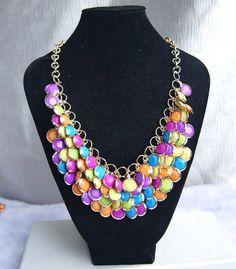 colorful bubble statement necklaceholiday by Arkpearl on Etsy, $18.00