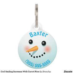 Cool Smiling Snowman With Carrot Nose Pet ID Tag