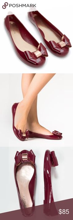 Ted Baker Faiyte Jelly Flats Thess absolutely adorable flats feature a jelly construction topped with a girly bow. New without box. Runs just slightly large in my opinion. Marked size 9, fits my 9-9.5 feet. Color is a deep red, like burgundy. Ted Baker Shoes Flats & Loafers
