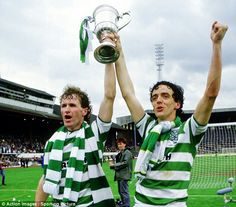 Celtic win the Scottish Cup at Hampden Park in 1985. Pictured are goalscorers Davie Provan and Frank McGarvey.