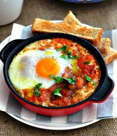 baked spicy beans and eggs