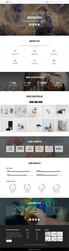 Meruem is clean and modern design responsive bootstrap #HTML5 template for personal #portfolio showcase #freelancers website to live preview & download click on image or Visit 👆 #webdeveloper