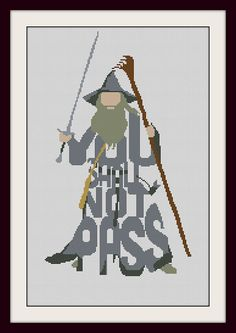 Lord of the Rings You Shall Not Pass Funny Sign , INC Cross Stitch Pattern, BOGO, PDF counted cross stitch pattern,R038