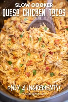 Slow Cooker Queso Chicken Tacos - Plain Chicken,Slow Cooker Queso Chicken Tacos - only 4 ingredients! Chicken slow-cooked in taco seasoning, diced tomatoes and green chiles, and Mexican cheese dip. Crockpot Dishes, Crock Pot Cooking, Cooking Recipes, Crockpot Chicken Tacos, Chicken Cooker, Crock Pot Chicken Mexican, Easy Crockpot Recipes, Slow Cook Chicken Recipes, Meals With Chicken