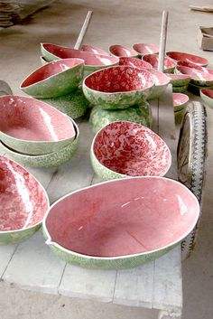 pink and green watermelon bowls