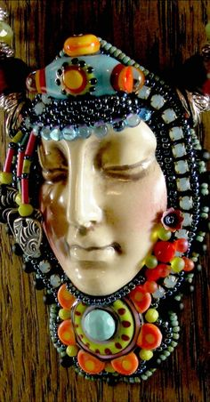 Leaded Glass, Stained Glass, Mosaic Art, Mosaics, Beaded Embroidery, Bodies, Faces, Pendants, Beads