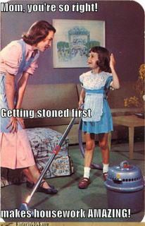 Getting stoned first makes housework amazing !