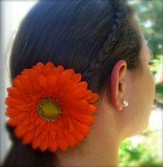 Gerber Daisy Hair ClipFiesta Orange by sandnsurfcreations on Etsy, $6.95