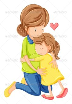 Illustration of Illustration of a love of a mother and a daughter on a white background vector art, clipart and stock vectors.