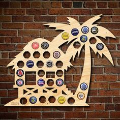 Tropical craft beers are perfect for this beach hut beer cap map!