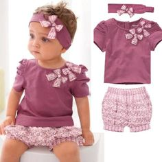 Baby Girl Clothes 0-3 6-9 12-18 18-24 24 Months Summer Clothing 3 pcs Set TYA4 #DressyEverydayHoliday