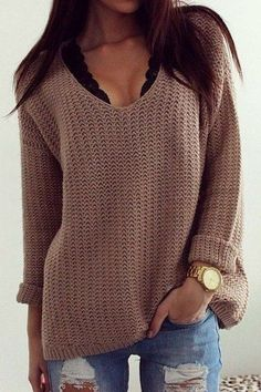 Solid Color Casual V-Neck Long Sleeves Pullover Sweater For Women