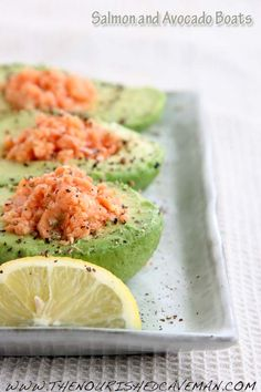 Avocado stuffed with smoked salmon and goat cheese #food #paleo #avocado
