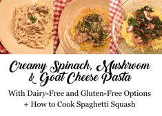 creamy mushroom and spinach pasta Creamy Spinach, Spinach Pasta, Creamy Pasta, Creamy Mushrooms, Stuffed Mushrooms, Stuffed Peppers, Garlic Uses, Dairy Free Cream, Goat Cheese Pasta