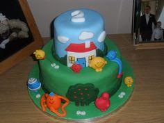 Mr Men cake Thomas Birthday, Man Birthday, Birthday Cakes For Men, Cakes For Boys, Birthday Traditions, Birthday Celebrations, Miss Cake, Mr Men Little Miss, Big Cakes