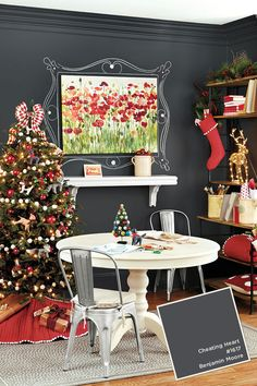 Paint Colors from Oct-Dec 2015 Ballard Designs Catalog Office Christmas Decorations, Holiday Decor, Family Holiday, Benjamin Moore Paint, Favorite Paint Colors, Painting Wallpaper, Ballard Designs, Grey Paint, Room Colors