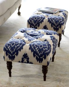 """H5FS0 """"Emily"""" Tufted Bench - Maybe in front of the fireplace with club chairs."""