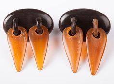 // Monies Carved Horn Dangle Earrings