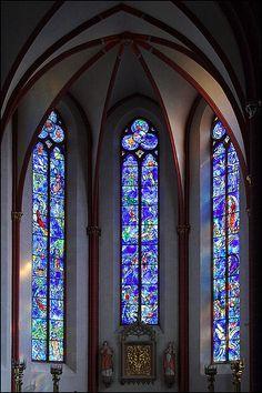 Chagall's choir windows in St. Stephan, Mainz, Germany.