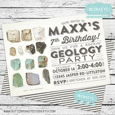 Geology Invitation PLUS Matching Thank You by 3LittleMonkeysStudio