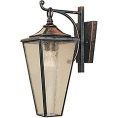 @Overstock - Setting: Outdoor  Fixture finish: Flemish  Shades: Champagne seedy glasshttp://www.overstock.com/Home-Garden/World-Imports-Amber-Rays-1-light-Outdoor-Hanging-Wall-Lantern/6291107/product.html?CID=214117 $160.20