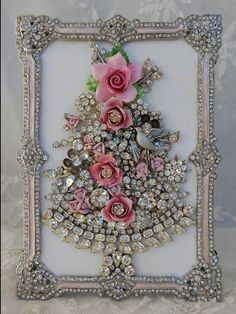 Vintage jewelry collage - love this one, with the jeweled frame. Lots of examples (Christmas trees).  Here's the original, sold on ebay: http://www.ebay.com/itm/Vintage-Jewelry-Framed-Christmas-Tree-pink-roses-clear-rhinestones-dove-/160917231717?pt=Vintage_Costume_Jewelry&hash=item25776a1865&nma=true&si=A6O8ib9DQCGD92vtG4PlYCT6saU%3D&orig_cvip=true&rt=nc&_trksid=p2047675.l2557