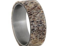 Deer Antler Wedding Band Titanium Ring For by jewelrybyjohan