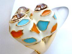 Vintage Enamel Ring Smokey Topaz Rhinestone Size 9.5 Wide Estate Orange Blue | eBay