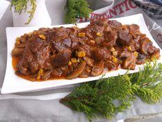 Izabela w kuchni: Karkówka z piekarnika z cebulą, pieczarkami i kuku... Tacos, Food And Drink, Beef, Cooking, Recipes, Impreza, Projects, Recipies, Meat
