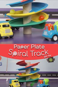 Mothers Day Crafts For Kids Discover Paper Plate Spiral Track DIY Toy A great DIY toy you can make from items you already have at home! Create a fun spiral track for your little ones cars trucks marbles and more! Toddler Learning Activities, Craft Activities For Kids, Preschool Crafts, Projects For Kids, Diy For Kids, Indoor Activities, Summer Activities, Diy Toys For Babies, Colour Activities For Toddlers
