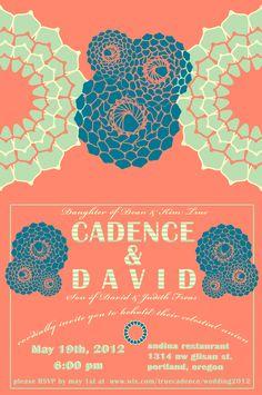 Our invitation, designed by David
