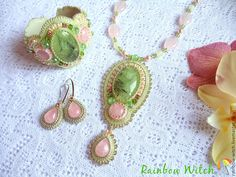 Fringe Earrings, Crochet Earrings, Crystal Beads, Glass Beads, Jewelry Sets, Jewelry Making, Beaded Embroidery, Rose Quartz, Handmade Jewelry