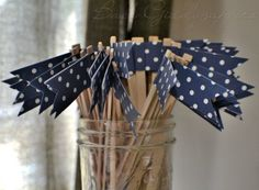 Navy with White Polka Dots Cupcake Flags