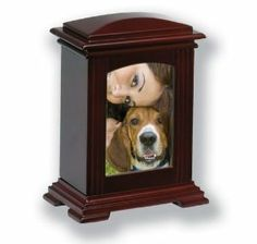 Wooden Photo Frame Cremation Pet Urn in Mahogany Finish by BOGATI