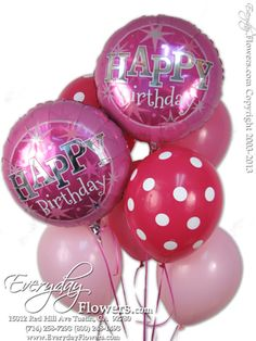 Pink Happy Birthday Balloon Bouquet by Everyday Flowers.
