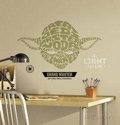 Star Wars - Typographic Yoda Peel and Stick Giant Wall Decal Wall Decal at AllPosters.com
