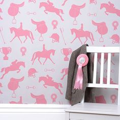Buy online Hibou Homes Gymkhana Girls Wallpaper in Coral Pink, is a sophisticated equestrian theme. Gymkhana wallpaper is every horse and pony lovers dream. Childrens Bedroom Wallpaper, Nursery Wallpaper, Bathroom Wallpaper, Her Wallpaper, Kids Wallpaper, Beautiful Wallpaper, Perfect Wallpaper, Animal Wallpaper, Wallpaper Ideas